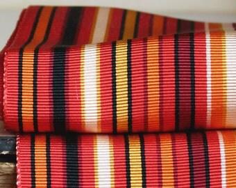 Antique French jacquard grosgrain millinery ribbon trim, embroidery edging, stripe black, red, orange & white costume design