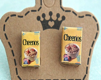 cheerios cereal box earrings- miniature food jewelry, cereals earrings