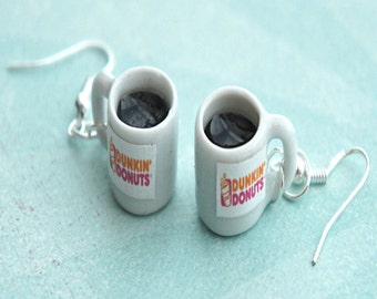 dunkin donuts coffee dangle earrings- miniature food earrings, coffee cup earrings, food jewelry