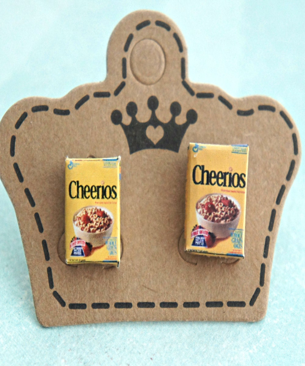 Cheerios Cereal Box Earrings Miniature Food Jewelry Cereals