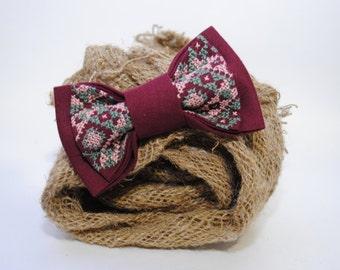 gift man bow tie embroidered vinous bowtie groomsman burgundy wedding tie marsala necktie men's gifts idea cute gifts for boyfriend gift him