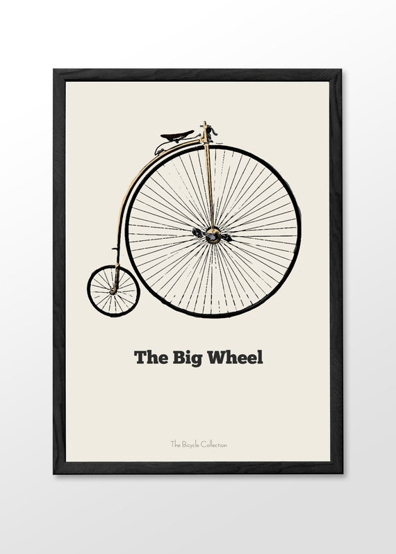 Items similar to big wheel bike printable wall art old for Bicycle wheel wall art