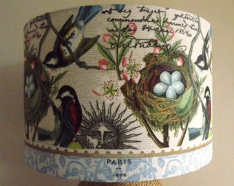 French Birds Nest  Lampshade easter birdwatcher's delight  shabby chic script sun paris botanical Fatta da Mamma