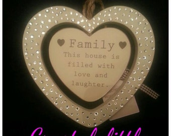Chabby Chic cream hanging wooden Family plaque