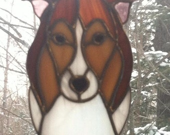 Collie Stained Glass Suncatcher