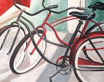 Vintage Bicycles Print, Matted fine art print, Glicee print of antique red and gray bikes