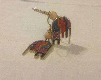 Laurel Burch Aztec Cat Dangle Earrings Enamel Post Modern