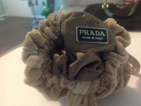 Prada Italy Evening Bag Velvet Pouch Purse Taupe by CraigOandAlice