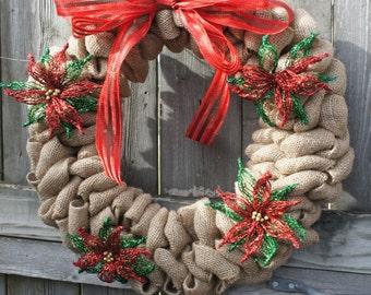 """16"""" Poinsettia Wreath"""