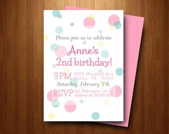 Birthday Party Invitation, girl birthday invitation, girl birthday party invite, pink green yellow and grey polka dots, bubble invite (038)
