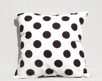 Decorative Pillow cover , Geometric Pillow Case, Kids Pillows Case, 16x16 Black Dot Pillow Case
