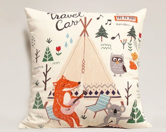 "Fox pillow cover , Camping Pillow Case, 20"" x 20"""