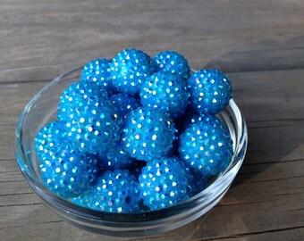 Ship Free 25- 10ct Blue Rhinestone 20mm Beads, Rhinestone Beads, Blue Beads, Frozen Beads, Elsa Chunky Necklace