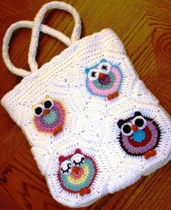 Crochet Owl Bag with Canvas Lining & Reinforced Handles / Owl Tote Bag ...