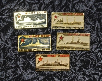 Vintage Set 5 pin  Badges from USSR- fleet of the USSR - Russian badge