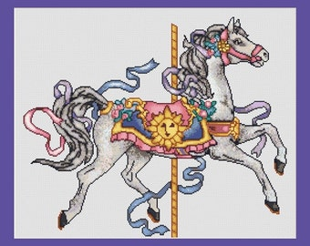 Carousel Horse Counted Cross Stitch Pattern in PDF for Instant Download