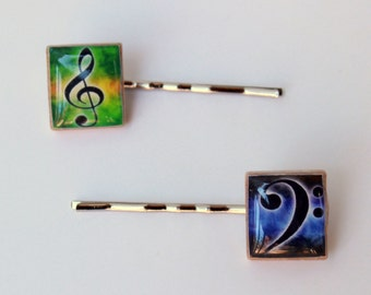 Treble & Bass Clef Scrabble Tile Bobby Pins