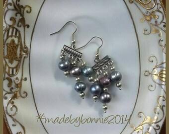 Jackie O freshwater pearl chandelier earrings