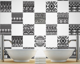 Vinyl Backsplash - Aztec - Tile Stickers - Tile Decals - Tiles for Kitchen - Backsplash - Tiles for Bathroom - PACK OF 32 - SKU:ARPATiles