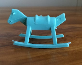 Vintage Miniature dollhouse rocking horse in blue