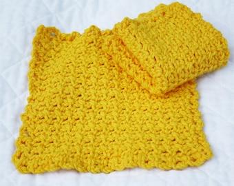 Cotton Crocheted Dishcloths,  Eco-friendlyAll Cotton Washcloths, Set of 2, Bright Yellow,