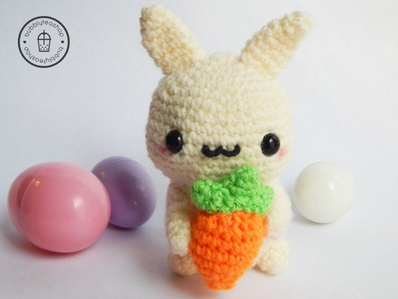 Easter Bunny Plush - Easter Decor - Easter Gifts - Amigurumi Bunny - Bunny with Carrot - Bunny Plush - Rabbit Plush - Crochet Bunny