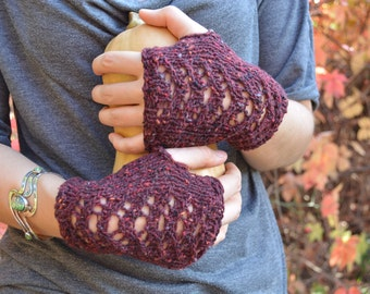 Burgundy tweed fingerless gloves with open lacework