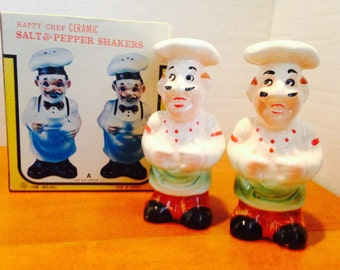 Happy Chef Salt and Pepper Shakers New in Original Box Vintage Kitchen Baker or Cook Gift
