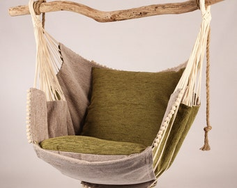 Hammock chair (green/beige)