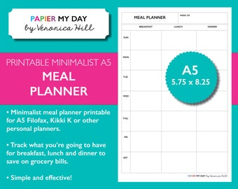 A5 Filofax Meal Planner - Minimalist Design - A5 Planner Printables
