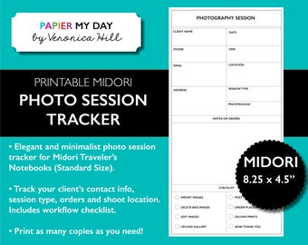 Midori Traveler's Notebook Photography Checklist - Midori TN Photography Session Printable