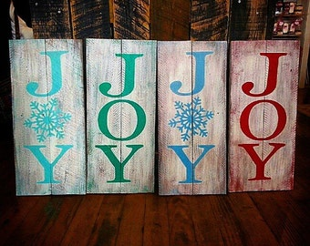 Joy Handcrafted Re-purposed Wood Holiday Christmas Home Decor Sign