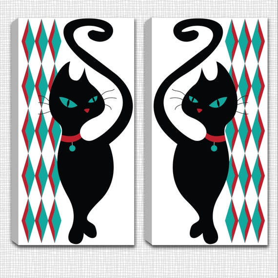 SET of 2 - Dimond Black Kitty - Mounted Canvas  Wall Art