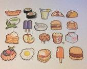 Mini Pixel food stickers pack of 20