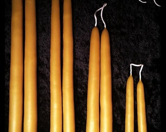 "8"" Pair Natural Beeswax Hand Dipped Taper Candles"