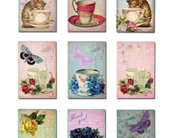 9 mini Thank You vintage teacup tags ready for instant download.  Each tag is 2 x 3 inches