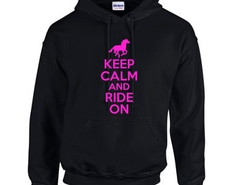 Keep Calm And Ride On Horse Horseback Riding Mens Hoodie  Funny Humor