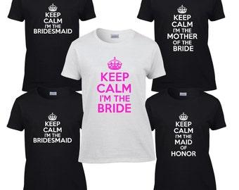 Bridesmaid Shirts (4) Wedding T-Shirts. Set of Four Bachelorette Party Shirts. Bachelorette Gifts - Keep Calm Bridal Wedding Shirts
