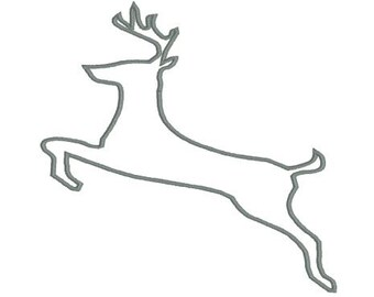 Embroidery Design Pattern Applique Reindeer Leaping Stag Deer