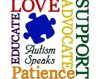 Embroidery Design Pattern - Autism Awareness Love, Advocate, Patience, Support, Educate,