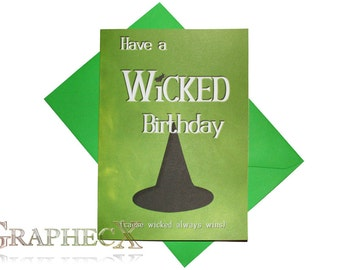 Wicked inspired personalized birthday card