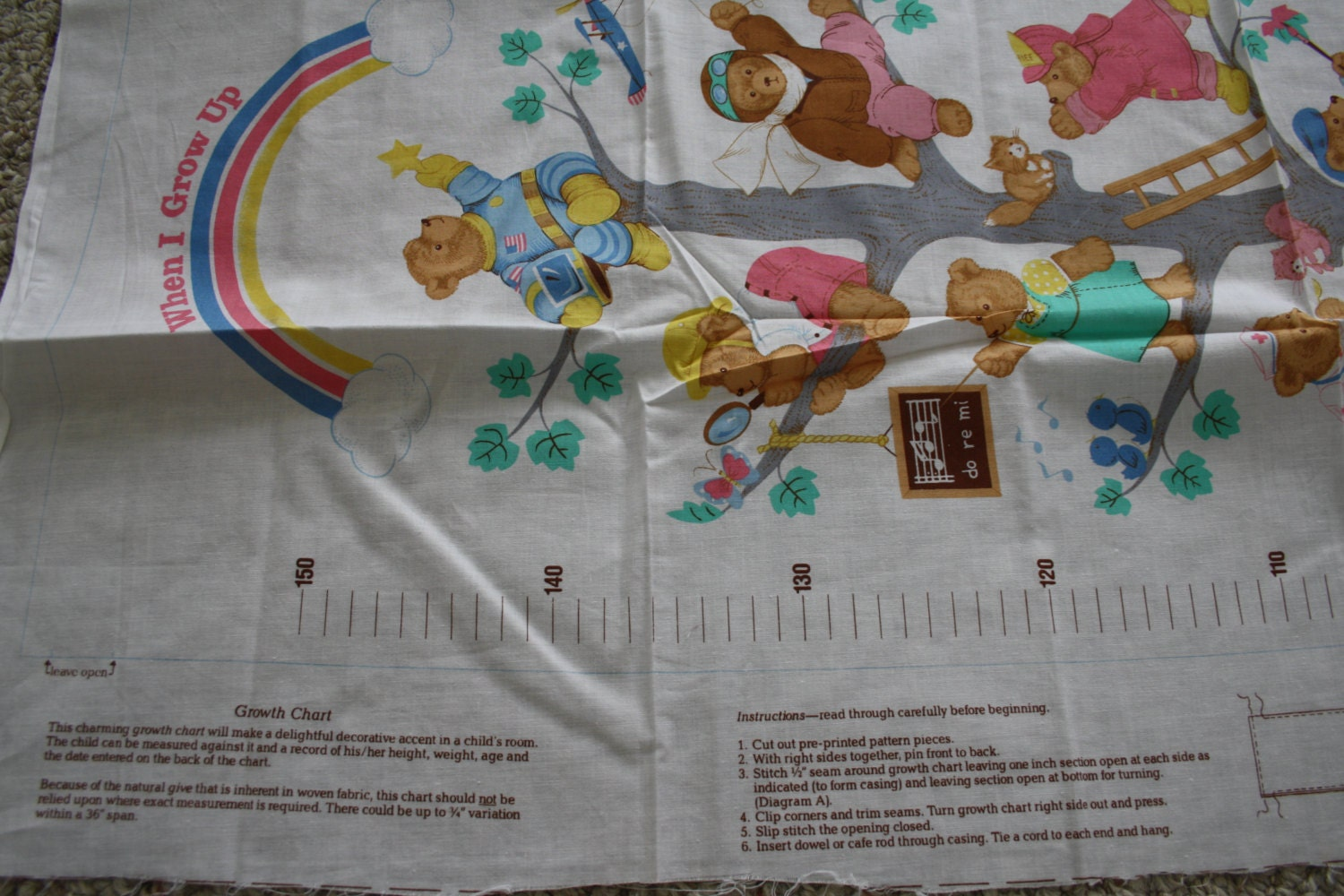 Growth chart fabric panel sewing pattern cut and sew record girls nz1810 shipping geenschuldenfo Images