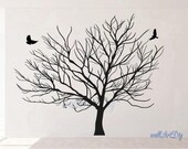 Giant winter tree wall decal Tree wall decals White tree wall decal Tree wall art Tree wall stickers Tree and birds wall decals