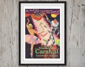 1935 ENGLISH TOFFEE Christmas Ad MACKINTOSH'S Carnival Candy Jester Ballerina Ballet Dance 1930s Advertisement Holiday Wall Decor Art Print