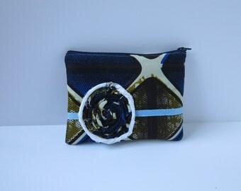 Sale 50% off Zipper pouch/make up purse -  Blue & brown diamond pattern (Ankara)