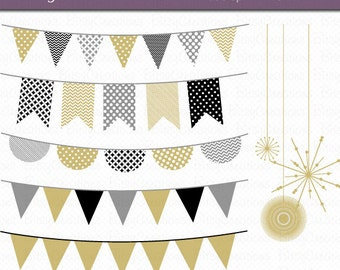 New Year Bunting Clipart Digital Art Set Gold Banner Flag INSTANT DOWNLOAD New Year Clip Art