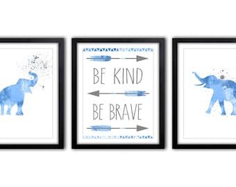 Blue And Gray Nursery Wall Art, Safari Theme Boys Room Decor, New Baby Gift Idea, Be Kind Be Brave - Set of 3 - ES19