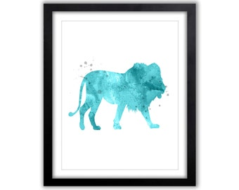 Lion Watercolor, Lion Painting, Animal Watercolor, Lion Silhouette, Abstract Lion Art, Watercolor Print, Nursery Art, Blue and Gray, SA042