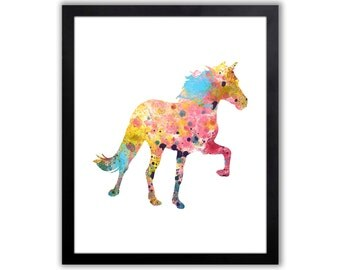 Equestrian Wall Decor - Horse Watercolor Art Print - Abstract Horse Painting - Girls Room Decor - HO004