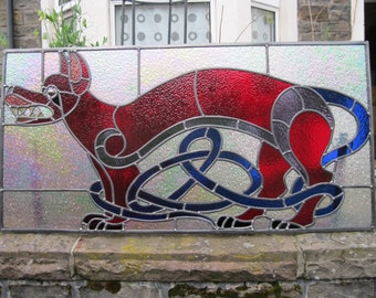 Stained glass panel-Privacy panel/window/door/hanging-Celtic dog-Bespoke and unique-made to order in the colour of your choice